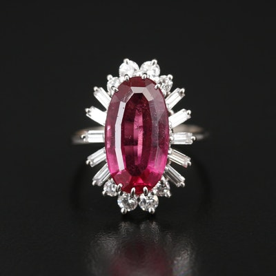18K 6.28 CT Tourmaline and Diamond Ring with GIA Report