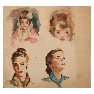 Robert H. Whitmore Watercolor Portrait Studies, Early to Mid-20th Century