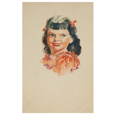 Robert H. Whitmore Watercolor Portrait of a Young Girl, Mid-20th Century