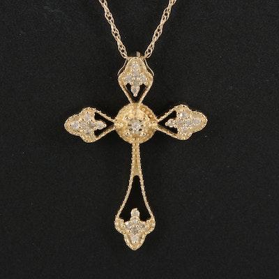 14K Diamond Cross Pendant Necklace