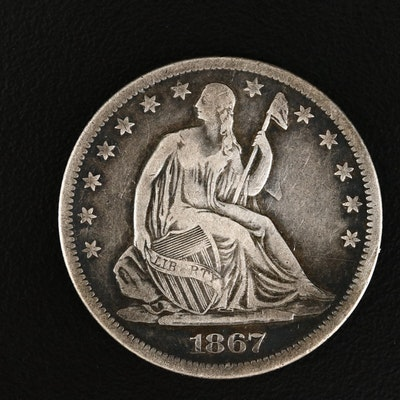 1867-S Liberty Seated Silver Half Dollar