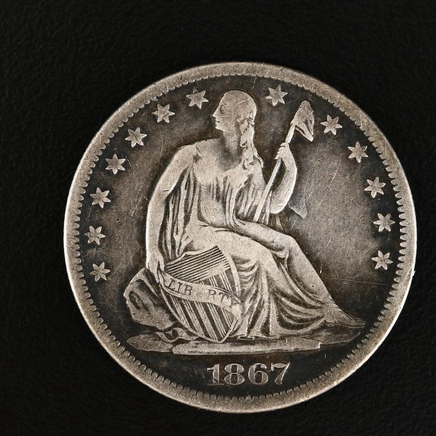 1867-S Liberty Seated Silver Half Dollar