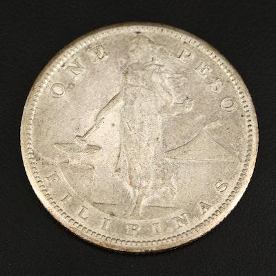 1908-S 1-Peso U.S. Philippine Silver Coin
