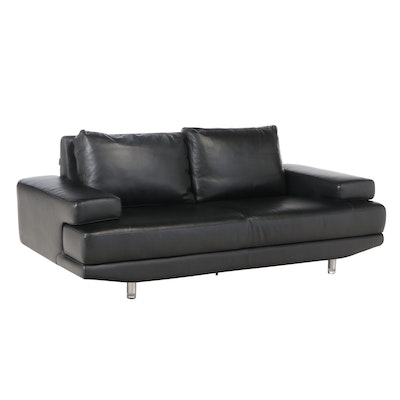 Nicoletti Italian Modern Black Leather Sofa