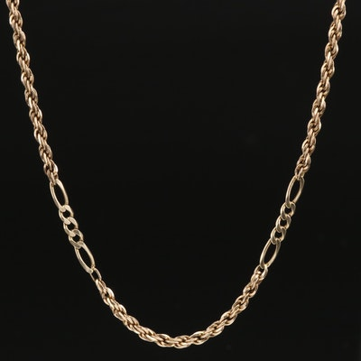 14K Rope and Figaro Chain Necklace