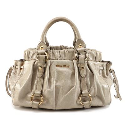 Miu Miu Vitello Lux Two-Way Satchel Taupe