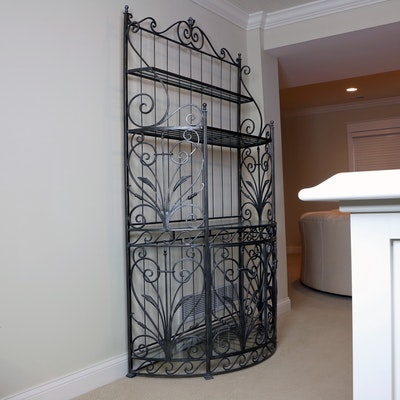 Scrollwork Metallic Gray Metal and Glass Baker's Rack