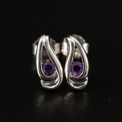 Sterling Amethyst Teardrop Stud Earrings