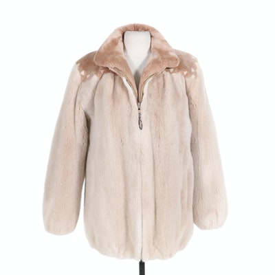 Sheared Beaver and Mink Fur Zip Jacket