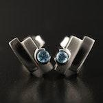 Sterling Topaz Geometric Stud Earrings