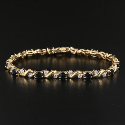 14K Sapphire and Diamond S Link Bracelet