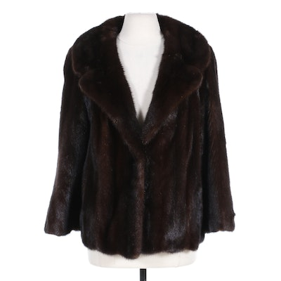 Dark Mahogany Mink Fur Jacket with Removable Belt, Vintage
