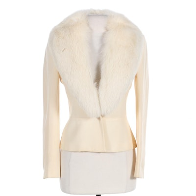 Ivory Wool Jacket with Blue Fox Fur Trim from Margaret's of Lubbock, Texas