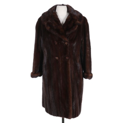 Mahogany Mink Fur Double-Breasted Coat with Rhinestone Buttons, Vintage