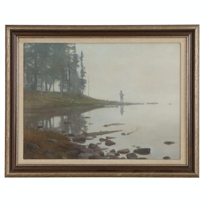 Lee Stroncek Oil Painting of Landscape with Fisherman