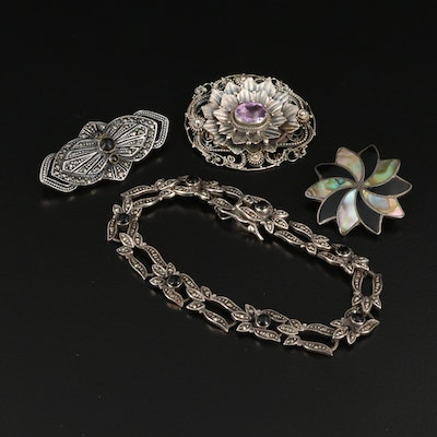Sterling Silver Brooches and Bracelet Featuring Amethyst, Abalone and Marcasite