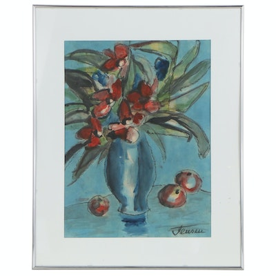Jens Jensen Still Life Oil Painting of Vase of Flowers and Fruit