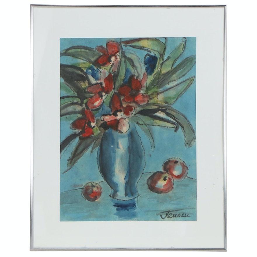 Jens Jensen Still Life Oil Painting of Vase of Flowers and Fruit