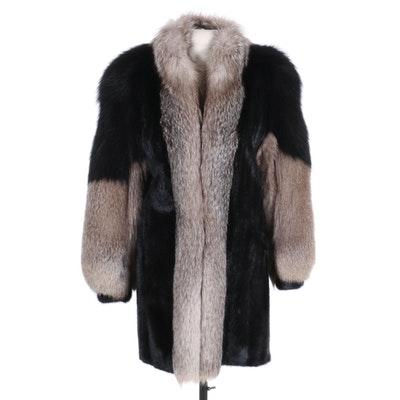 Two-Tone Fox and Ranched Mink Fur Stroller Coat with Banded Cuffs