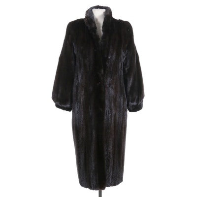 Dark Mahogany Mink Fur Long Coat with Banded Cuffs and Stand Collar