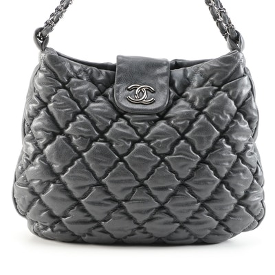 Chanel Bubble Quilted Calfskin Leather Hobo Bag with Classic Chain Leather Strap