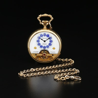 Hebdomas Arnex Exposed Balance 8-Day Pocket Watch with Chain Fob