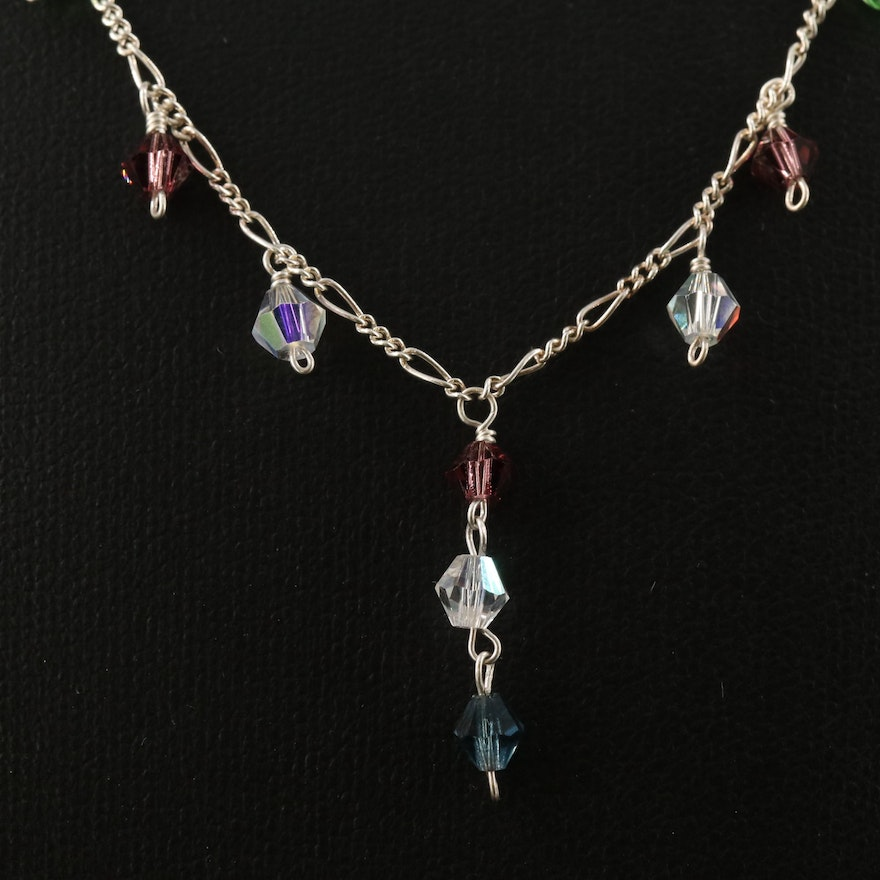 Sterling Faceted Glass Bead Station Necklace with Figaro Link Chain