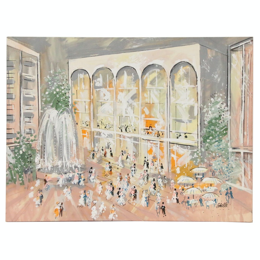 Charles Cobelle Large-Scale Oil Painting of Lincoln Center