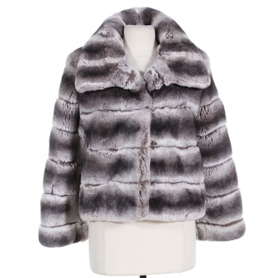 Glamourpuss Chinchilla-Dyed Rex Rabbit Fur Jacket