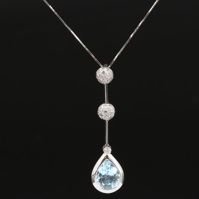 18K Topaz and Diamond Teardrop Necklace