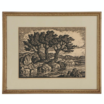 "Birger Sandzén Linoleum Cut ""In the Foothills"""