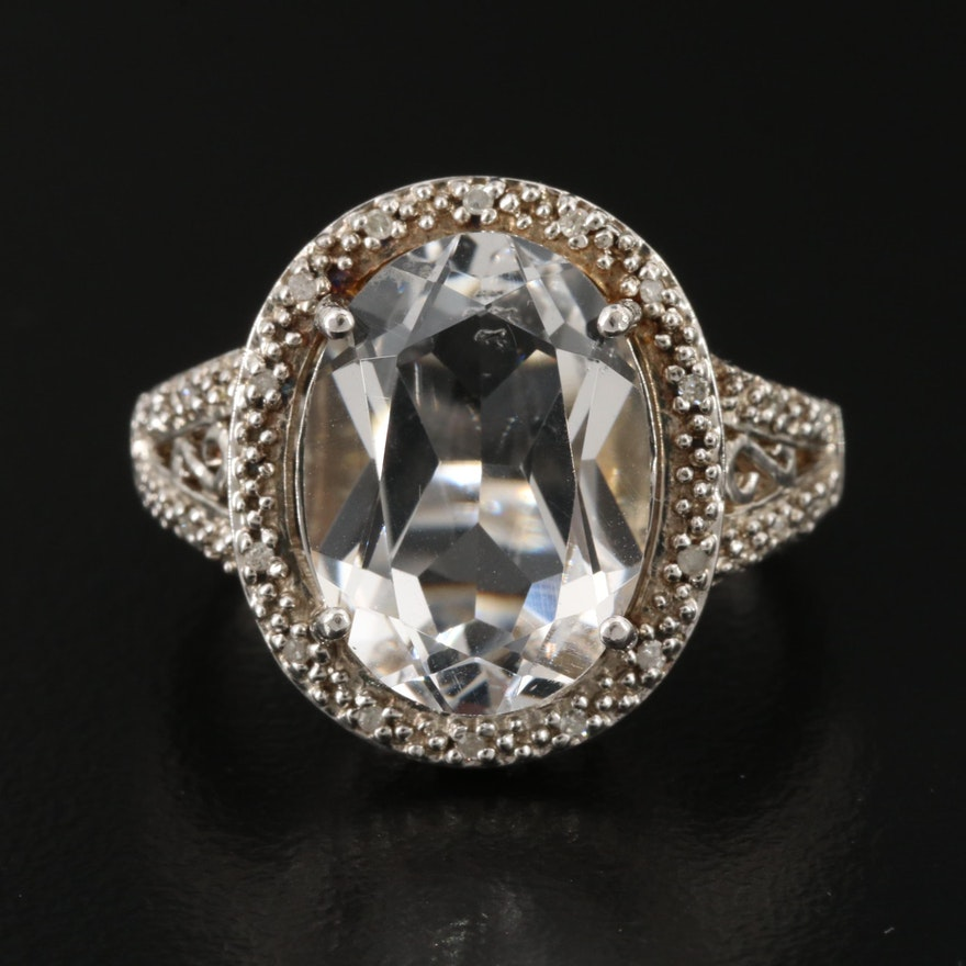 Sterling Silver Quartz and Diamond Oval Ring
