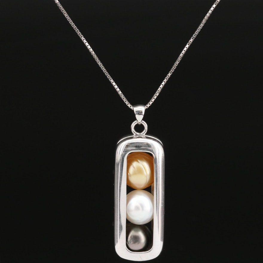 Sterling Silver Pearl Locket Pendant Necklace