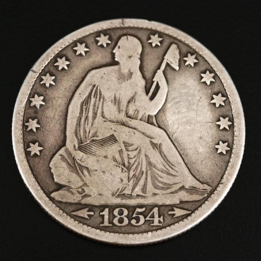 1854-O Liberty Seated Silver Half Dollar