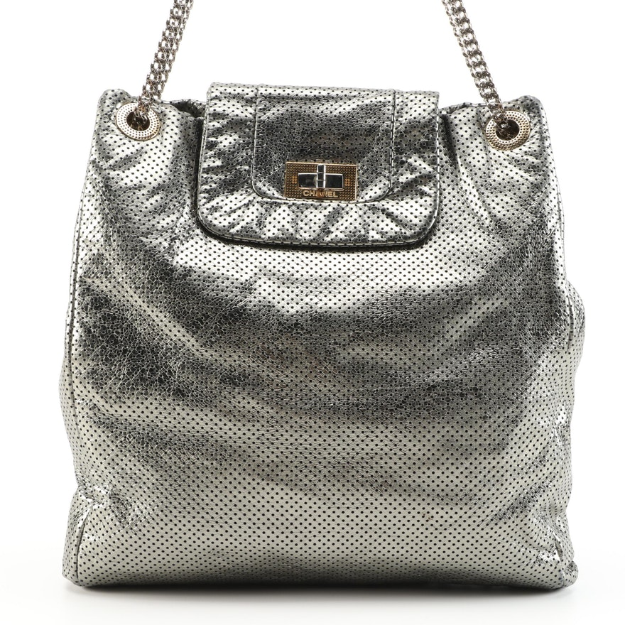 Chanel Drill Tote in Green Gold Perforated Leather with Bijoux Chain Strap
