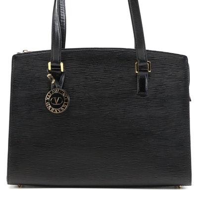 Valentino Garavani Black Epi Leather Shoulder Bag
