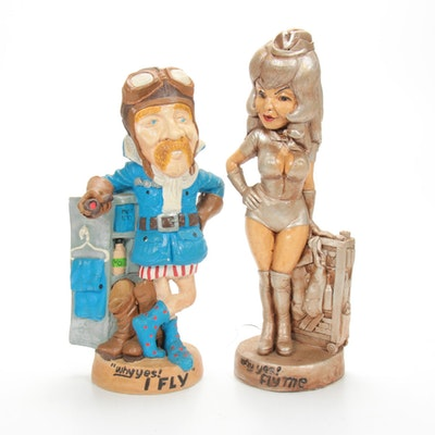 "Juta Sangthaweep ""Aviator"" and ""Flight Attendant"" Chalkware Figurines, 1970s"