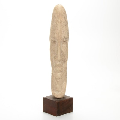 Ceramic Elongated Face Sculpture on Wood Base