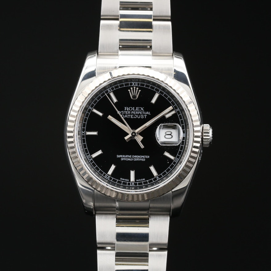 2007 - 2009 Rolex Datejust Stainless Steel and 18K Automatic Wristwatch