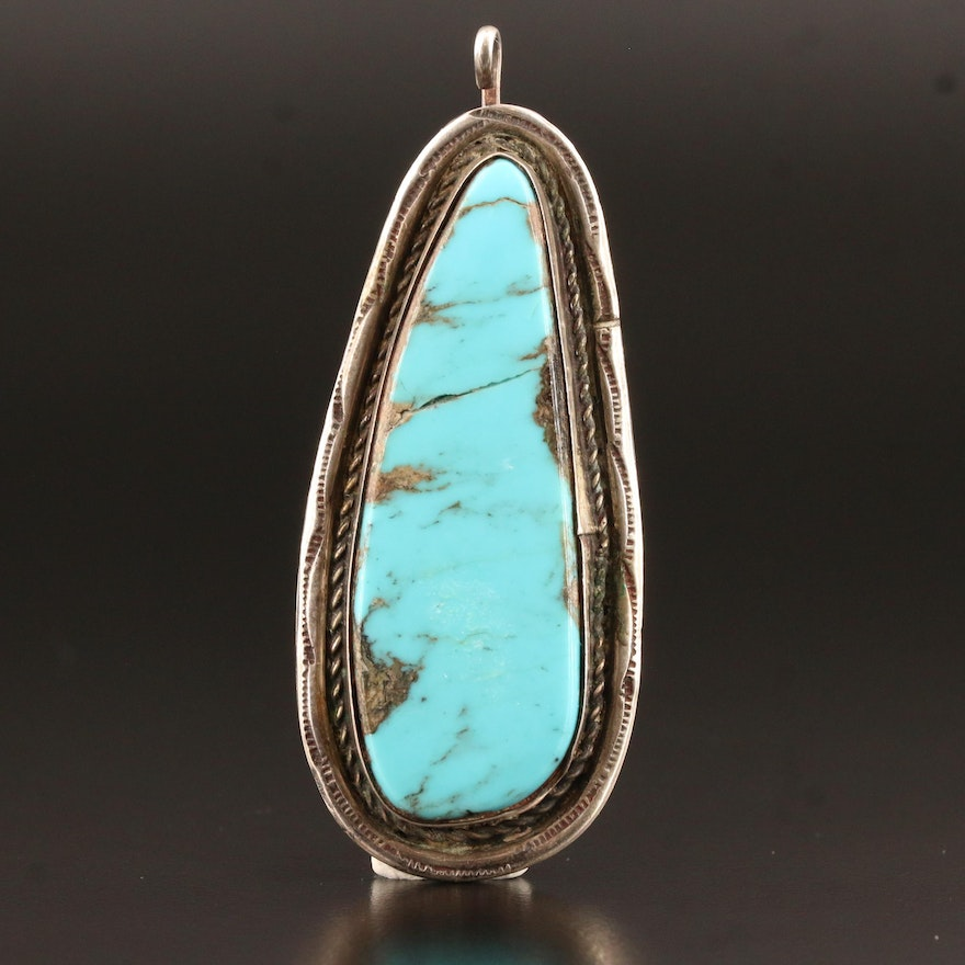 Western Sterling Turquoise Freeform Pendant