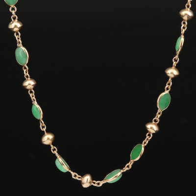 14K Jadeite Station Necklace