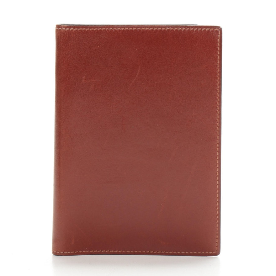 Hermès Paris Leather Address Book Cover in Mahogany