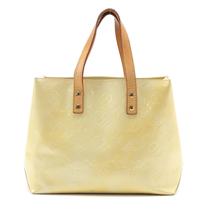 Louis Vuitton Reade PM Tote in Perle Monogram Vernis and Vachetta Leather