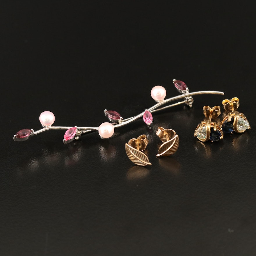 Sterling Pearl Foliate Brooch with Stud Earrings with Cubic Zirconia