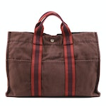 Hermès Fourre Tout MM Tote in Brown and Burnt Orange Canvas