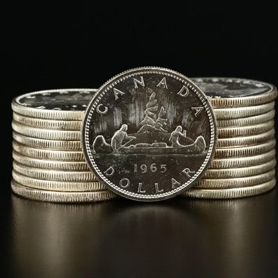 Twenty Uncirculated Canadian Silver Dollars, 1960 and 1965
