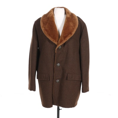 Men's Brown Wool Coat with Faux Fur Lining, 1970s Vintage