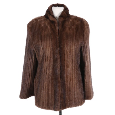 Corded Mink Fur Jacket with Waist Drawstring from Evans Furs, Vintage