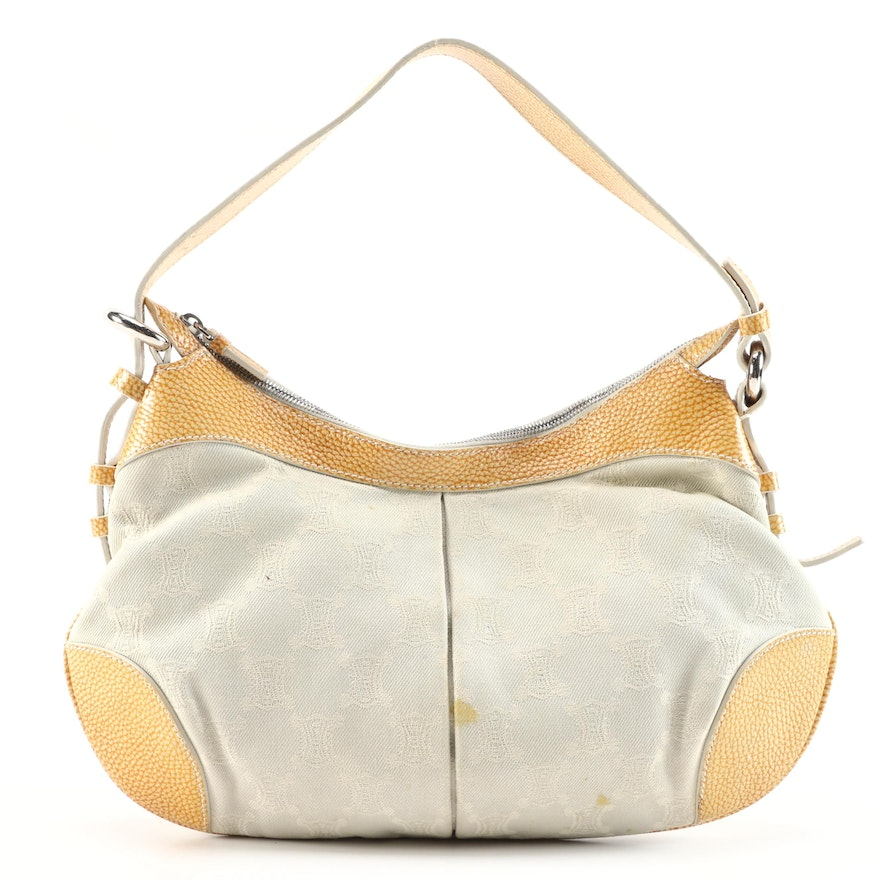 Celine Logo Canvas and Yellow Grained Leather Trimmed Hobo Bag
