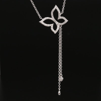 18K Diamond Butterfly Necklace with Tassels